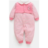 Baby's Adorable Swan Striped Faux-two Cotton Jumpsuit
