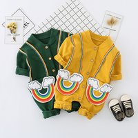 Beautiful Rainbow Appliqued Striped Jumpsuit for Babies