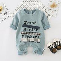 Adorable Letters Print Long-sleeve Jumpsuit for Babies