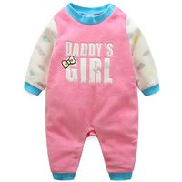 Newborn and Baby Girl Daddy's Girl Printed Contrast Jumpsuit
