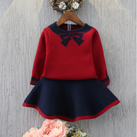 2-piece Elegant Fine-knit Long Sleeve Sweater and Skirt Set for Girls