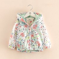 Pretty Flower Printed Hooded Jacket for Girls