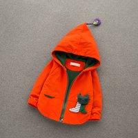 Cute Cat Appliqued Halloween Hooded Zip-up Coat for Babies