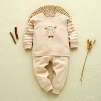2-piece Adorable Deer-appliqued Striped Top and Pants Set for Babies