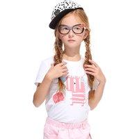 Cute Dino Print Short-sleeve T-shirt for Girls