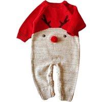 Cute Deer Print Long-sleeve Knit Jumpsuit