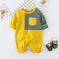 Lovely Striped Long-sleeve Front Pocket Jumpsuit for Baby