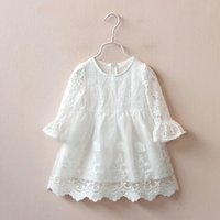 Lace Bell-sleeve Dress in White for Girls