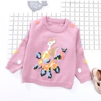 Girl's Cute Deer Patterned Knit Sweater in Purple for Girls