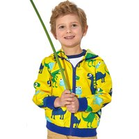 Cool Animal Pattern Hooded Long-sleeve Zip-up Coat for Babies and Toddlers