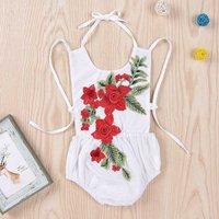 Sweet Flower Embroidered Backless Halter Bodysuit in White for Baby Girls
