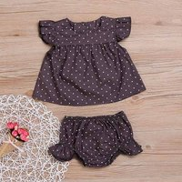 2-piece Sweet Polka Dotted Angle-sleeve Top and Panties  Set in Purple for Baby Girls