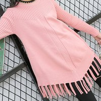 Girl's Pretty Solid Tassel Knit Sweater
