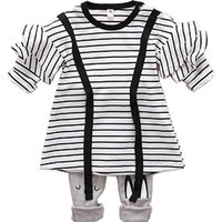 2-piece Striped Ruffled Contrast T-shirt and Pants Set