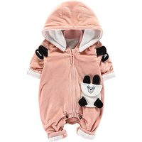 Adorable Pink Bear-appliqued Hooded Long-sleeve Jumpsuit for Babies