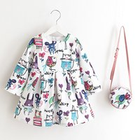 Quirky Patterned Long Sleeve Dress and Bag Set for Baby and Toddler Girls