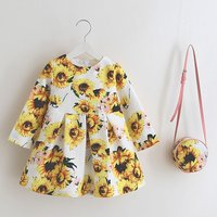 Bright Sunflowers Long Sleeve Dress and Bag Set for Baby and Toddler Girls