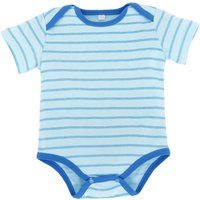 Striped Short Sleeve Cotton Bodysuit in Blue for Baby