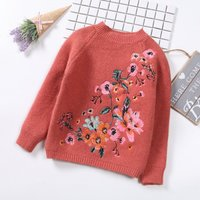 Floral Embroidered Knit Sweater for Baby Girls
