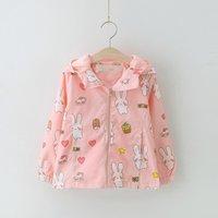 Adorable Rabbit Pattern Hooded Long-sleeve Coat for Girls