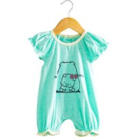 Adorable Pig Cotton Short Sleeve Bodysuit in Green for Baby