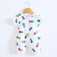 Baby's Pineapple Short Sleeve Bodysuit in White