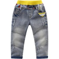 Classic Contrast Unique Graphic Print Elastic Waist Washed Jeans for Kids