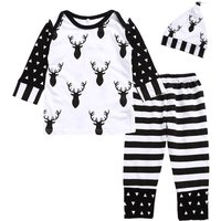 3-piece Deer Long Sleeve Tee, Striped Pants and Hat Set for Baby