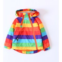 Rainbow Striped Fleece-lined Hooded Jacket for Kids