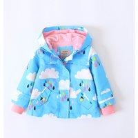Girl's Pretty Printed Fleece-lined Jacket in Light Blue