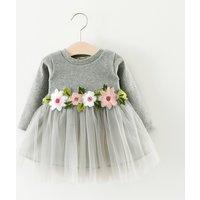 Sweet Flower Long Sleeve Mesh Dress for Baby Girls