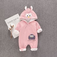 Adorable Penguin Applique Long-sleeve Hooded One Piece for Baby