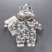 Lovely Camou Hooded Quilted One Piece for Baby