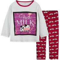 2-piece Milk Cow Pattern Long-sleeve T-shirt and Pants Set