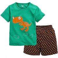 2-piece Dinosaur Print T-shirt and Polka Dots Shorts Set for Babies and Toddlers
