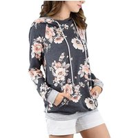 Stylish Floral Print Hooded Long-sleeve T-shirt in Grey for Women