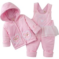 2-piece Love Appliqued Hooded Button Front Coat and Slip Jumpsuit for Babies