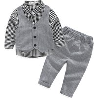3-piece Handsome Plaid Shirt, Vest and Pants Set for Baby Boy