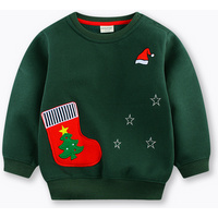Christmas Appliqued Long Sleeve Pullover in Green for Baby Boys