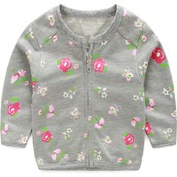 Baby Girl's Sweet Floral Printed Cardigan in Grey