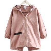 Cool Striped Hooded Zip-up Wind Coat for Girls