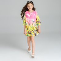 Elegant Floral Printed Long Sleeve Cardigan and Sleeveless Dress for Girls