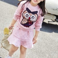 2-piece Owl Applique Long-sleeve Top and Ruffled Skirt Set