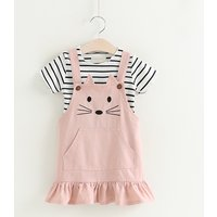 Sweet Striped Tee and Overall Cat Dress Set for Toddler Girls