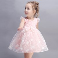 Elegant Bow-accented Lace High-waist Sleeveless Mesh Princess Dress for Girls