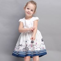 Sweet Patterned Cap-sleeve Princess Dress for Girls