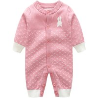 Sweet Rabbit Print Pompon Long-sleeve Jumpsuit for Baby