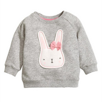 Baby and Toddler Girl's Bunny Appliques Pullover in Light Grey