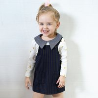 2-piece Sweet Printed Long Sleeve T-shirt and Striped Sleeveless Dress for Girls