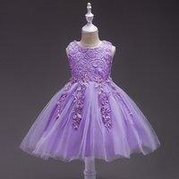 Exquisite Crocheted Flower Tulle Sleeveless Dress for Toddler Girl/Girl
